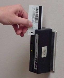 magstripe card being swiped to open door