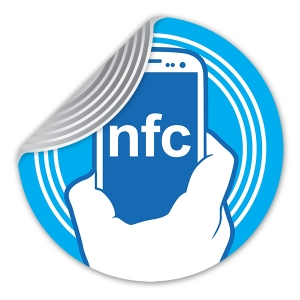 NFC Tag Sticker with NFC phone in hand