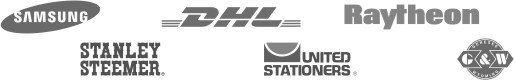 Samsung, Stanley Steemer, DHL, United Stationers, Raytheon, G&W