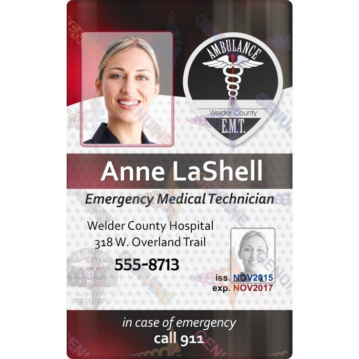 EMT ID Card with security overlay