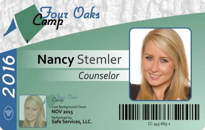 FourOaks camp Counselor ID Badge