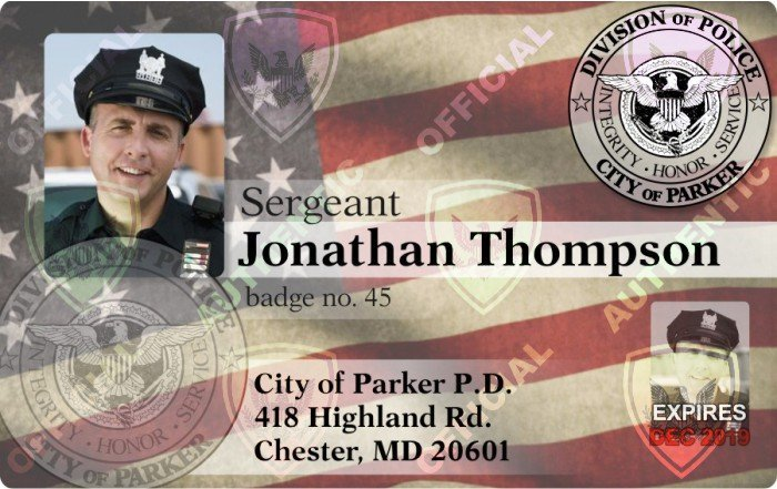 parker PD ID card example