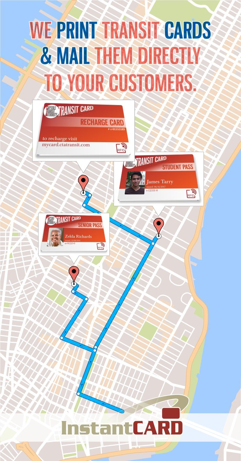 We print transit cards & mail then directly to your customers
