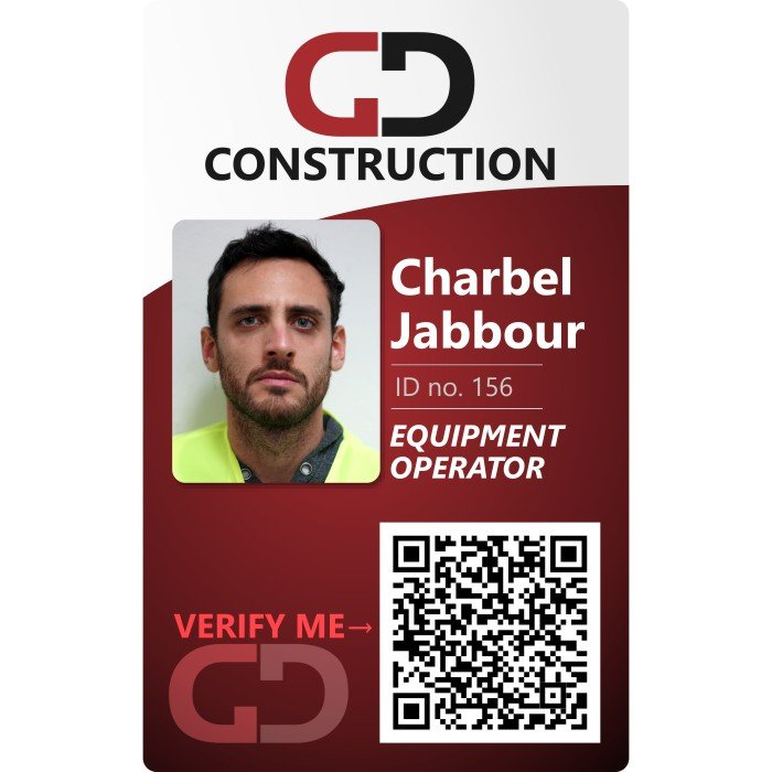 GD construction ID badge