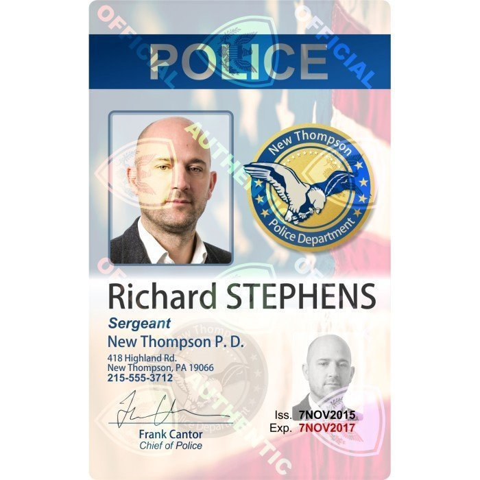Police ID Card with Holographic Security Overlay