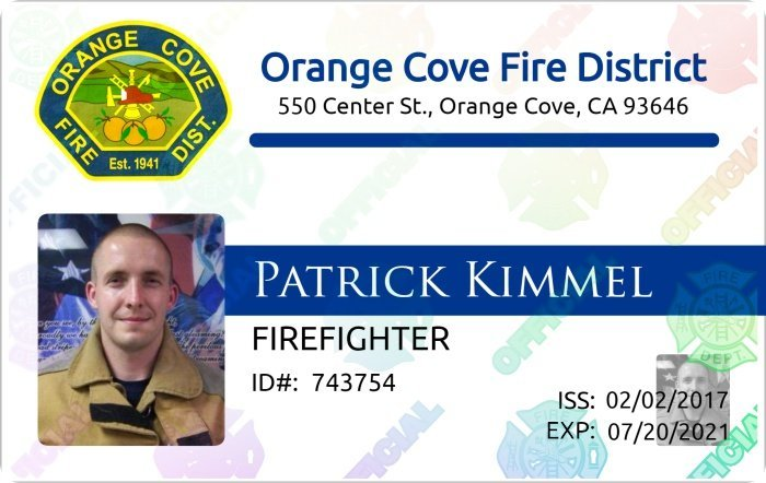 Orange Cove FD ID card
