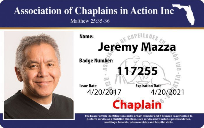 ACA chaplains ID card