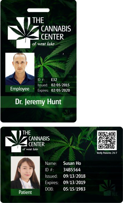 The Cannabis Center Example patient ID Cards