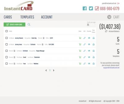 new instantcard interface
