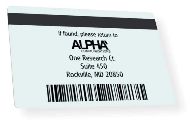 ID card back | mag strip, barcode, address