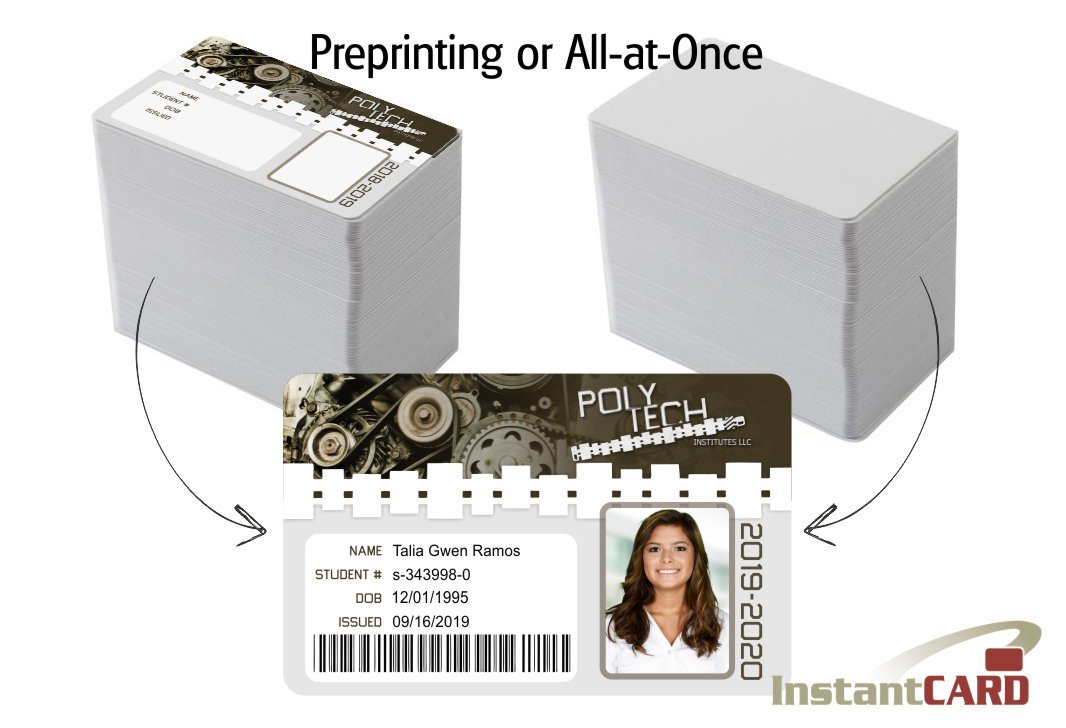 preprinting id cards or all-at-once
