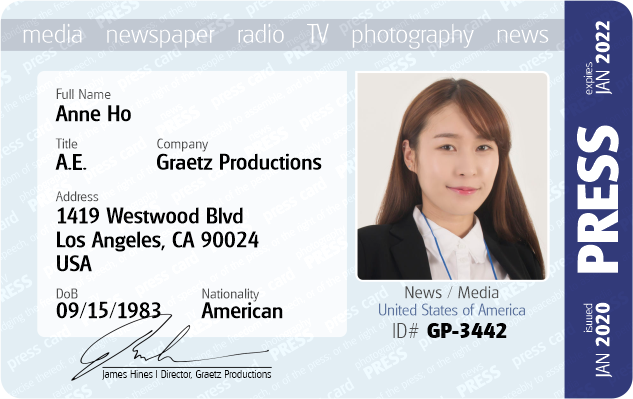 media press pass ID Card